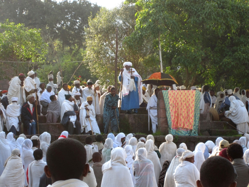 Open air preaching in Lalibella near Bet Medhane Alem, the largest monolitic church, home to the Lalibela Cross