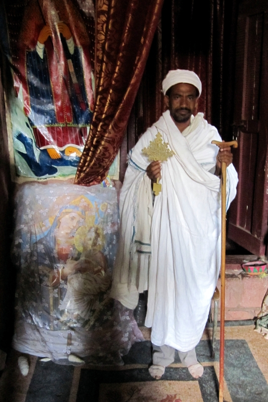 A priest with a typical Lalibela cross