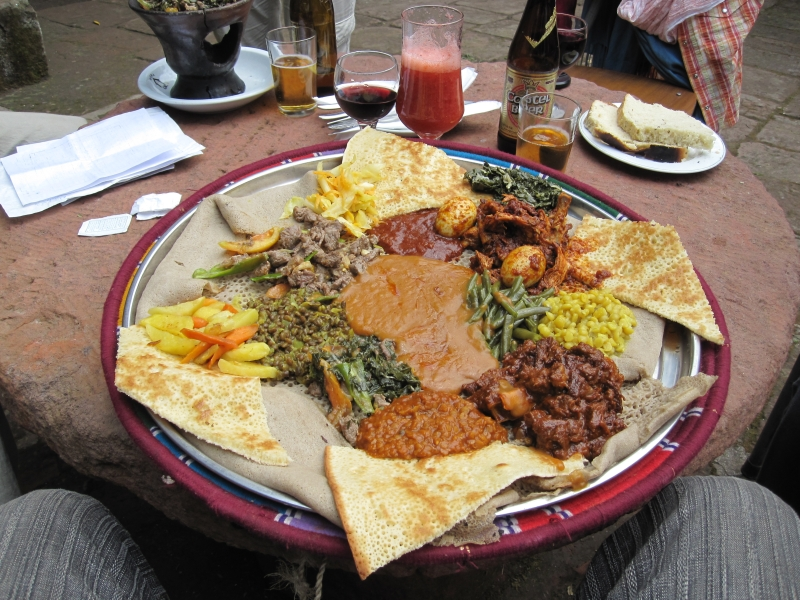 Food in Ethiopia is traditionally composed of injera with differend kind of meat and vegetables